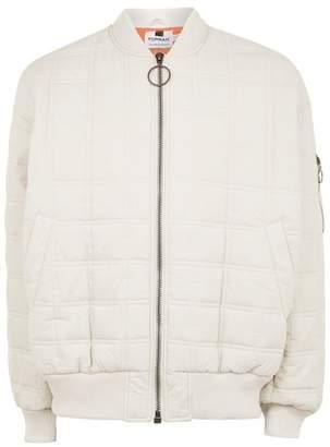 Topman Mens Cream Off White Oversized Bomber Jacket