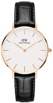 Daniel Wellington Classic Petite Reading Rose Goldtone and Leather Strap Watch, 32mm