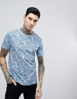 Pretty Green Portside All Over Paisley T-Shirt In Blue