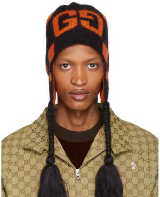 Gucci Black and Orange Mohair Ski Beanie