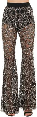 Sequined Tulle Flared Pants