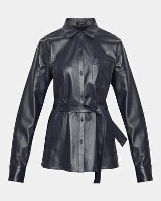 Theory Paper Leather Drop-Shoulder Shirt