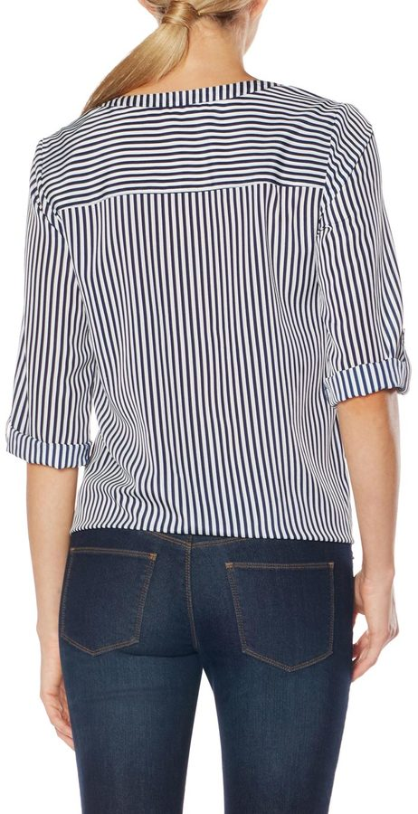 The Limited Striped Tie-Front Blouse