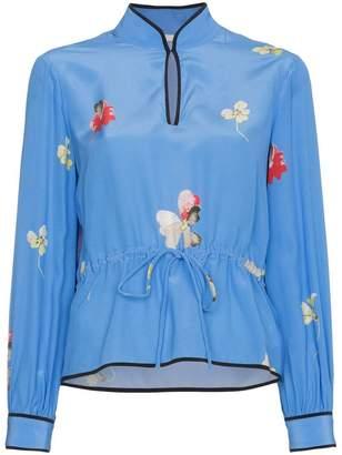 Ganni Silk Floral Drawstring Waist Blouse