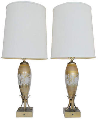 ... One Kings Lane Vintage Painted Glass U0026 Metal Table Lamps   Nihil Novi