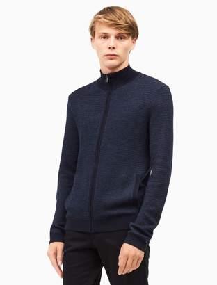 Calvin Klein merino wool blend plaited zip sweater