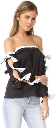 Milly Poplin Combo Blythe Top $325 thestylecure.com