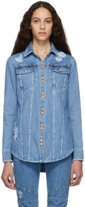 Balmain Blue Denim Ripped Shirt