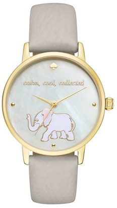 Women's Kate Spade New York 'Metro' Elephant Leather Strap Watch, 34Mm $195 thestylecure.com