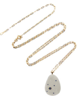 Cvc Stones Ocean 18K Gold Beach Stone and Sapphire Necklace