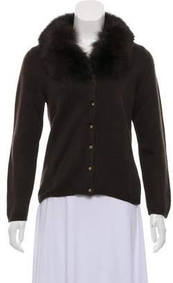 Blumarine Wool Fur-Trimmed Cardigan