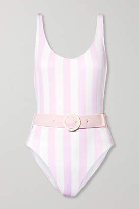 Solid & Striped The Anne-marie Belted Striped Swimsuit - Baby pink