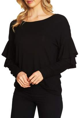 Cynthia Steffe CeCe by Tiered Ruffled Shoulder Ribbed Top