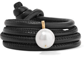 Mizuki Convertible Leather, 14-karat Gold And Pearl Bracelet