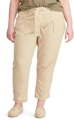 Lauren Ralph Lauren Plus Self-Tie Twill Pants