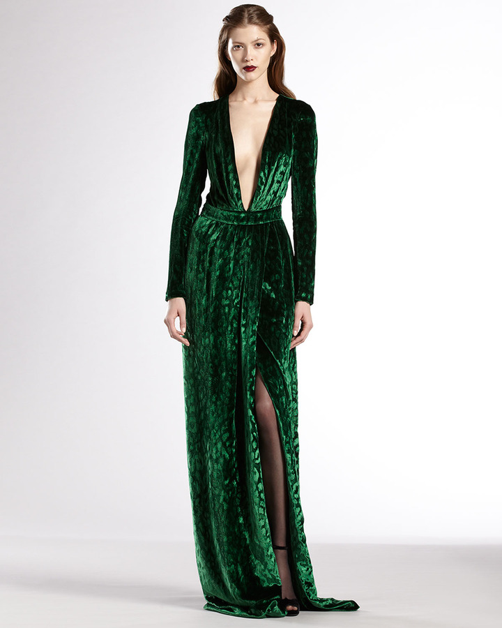 Gucci Velvet Deep V-Neck Gown