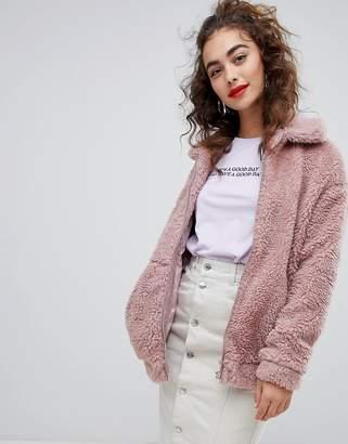 New Look Teddy Faux Fur Bomber Jacket