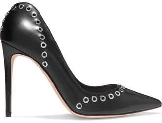 Eyelet-embellished Leather Pumps - Black