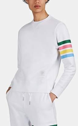 Thom Browne Men's Rainbow-Block-Striped Cotton Sweatshirt - White