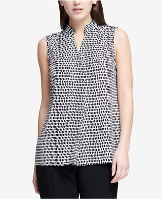 DKNY Printed Split-Neck Shell, Created for Macy's
