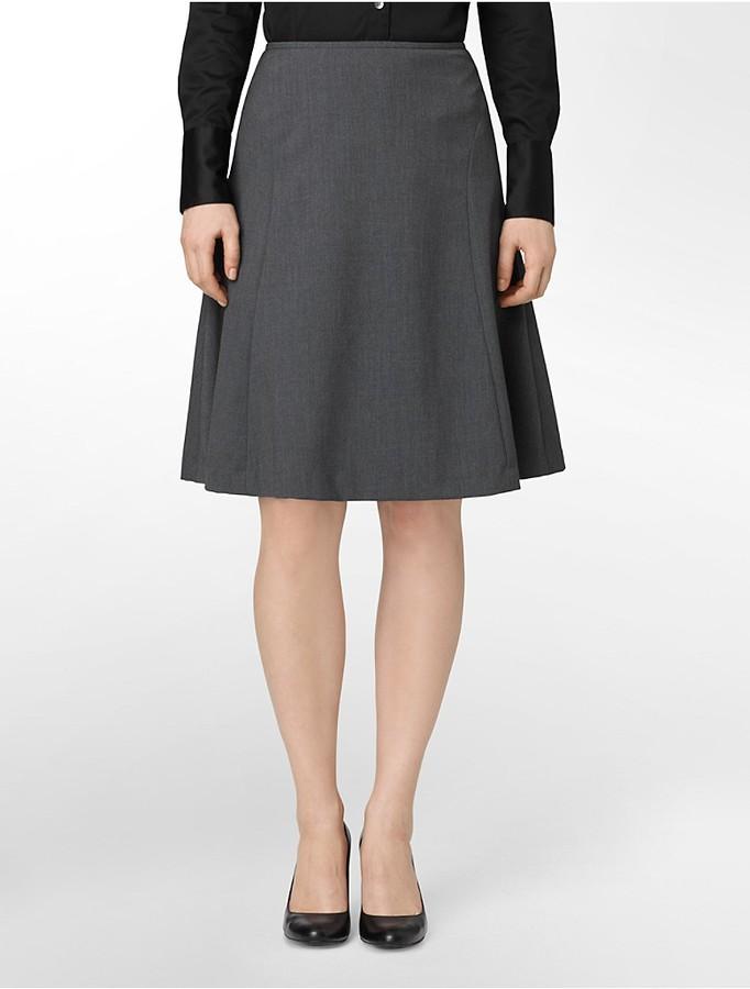 Calvin Klein Charcoal A-Line Suit Skirt