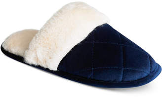Charter Club Quilted Microvelour Scuff Slippers, Created for Macy's