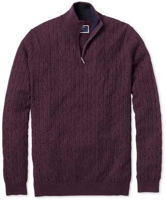 Charles Tyrwhitt Wine Zip Neck Lambswool Cable Knit Jumper Size Large