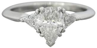Tiffany & Co. 950 Platinum 1.37ct. Pear Cut Diamond Engagement Ring Size 5.75