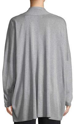 eskandar Open-Front Wide-Sleeve Silk Cardigan