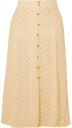 Faithfull The Brand Marin Polka-dot Crepe Midi Skirt - Pastel yellow