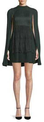 Valentino Pleated Silk A-line Cape Dress