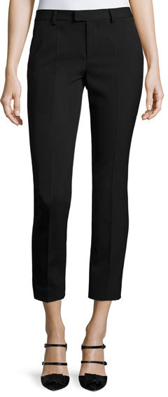 RED Valentino RED Valentino Mid-Rise Skinny Ankle Trousers, Black