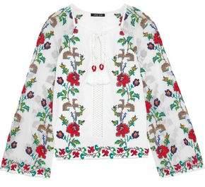 c148cda189d551 Love Sam Embroidered Mesh-paneled Cotton-gauze Blouse