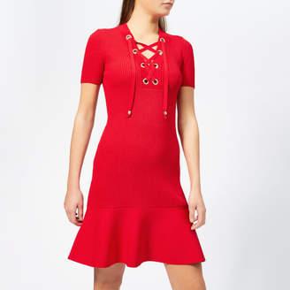 MICHAEL Michael Kors Women's Lace Up Short Sleeve Flare Rib Dress
