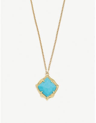 Kendra Scott Kacey 14ct gold-plated and Bronze Veined Turquoise necklace