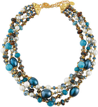 Jose & Maria Barrera Beaded 4-Row Twist Necklace, Teal