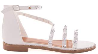 35f3a60dcc023 Missy Empire Missyempire Carla White Studded Strappy Flat Sandals