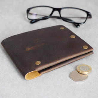 Buffalo David Bitton Paper High Personalised Handmade Leather Studded Wallet