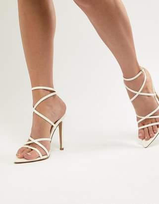 Public Desire Sultry white patent strappy sandals