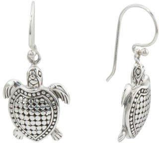 Made In Bali Sterling Silver Beaded Turtle Earrings