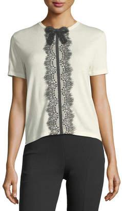 Giambattista Valli Short-Sleeve Lace-Trim T-Shirt