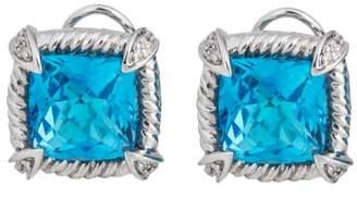 Simplicity And Elegance - 14k White Gold Blue Topaz & Diamond Earrings