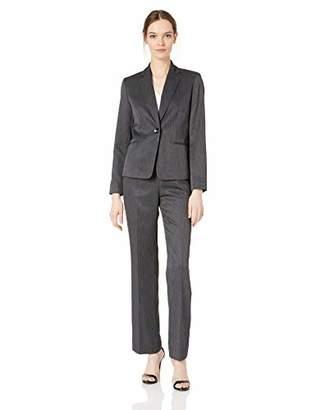 Le Suit Women's 1 Button Notch Collar Melange Pant Suit