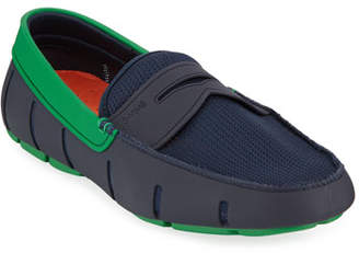 Swims Men's Rubber Penny Loafer Water Shoes, Navy/Jolly Green