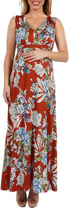 24/7 Comfort Apparel 24Seven Comfort Apparel Tria Sleeveless Floral Maternity Maxi Dress