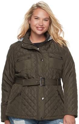 Urban Republic Juniors' Plus Size Hood Quilted Coat