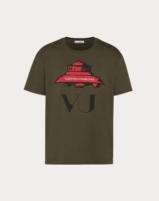 Valentino T-shirt With Ufo Vu Print Man Military Green Cotton 100% L