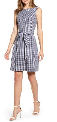 Anne Klein Gingham Fit & Flare Dress