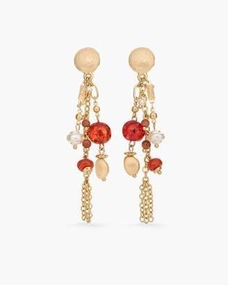 Red and Gold-Tone Chandelier Earrings