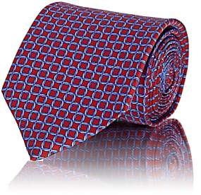 Barneys New York Men's Interlocked-Circle Silk Satin Necktie - Red